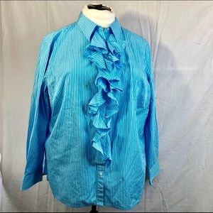 NWOT. Beautiful Blue With White Pinstripe Blouse